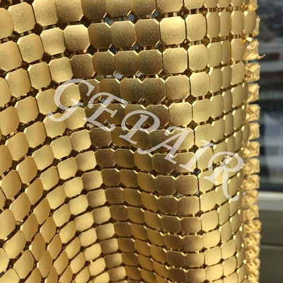 8mm Golden Aluminum Sequin Mesh