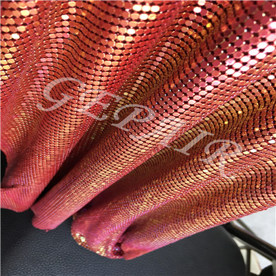 Imaginery bright red color aluminum sequin mesh cloth fabric