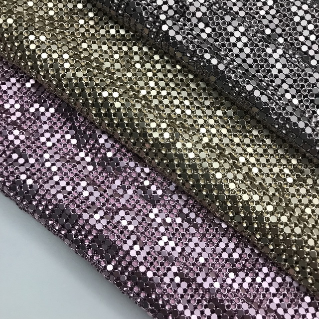 Bling Bling Crystal Metal Mesh fabric Metallic Aluminum Chain Mail Cloth For Curtains Room Divider