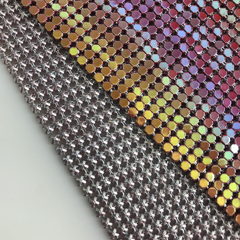 Soft flexible silver aluminum chainmail fabric metal sequin mesh fabric for clothing curtains
